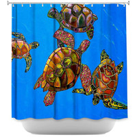 Sarrahs Sea Turtles by Patti Schermerhorn Fabric Shower Curtain
