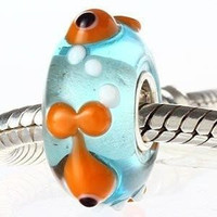 European charm glass bead with gold fish