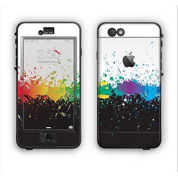 The Rainbow Paint Spatter Apple iPhone 6 Plus LifeProof Nuud Case Skin Set