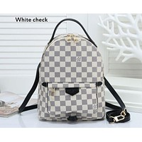 LV tide brand men and women fashion wild classic chess board old flower casual backpack white check