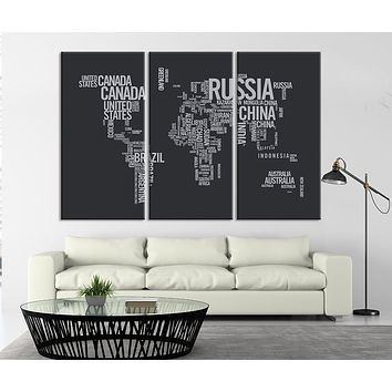 Large Triptych Art Typography World Map Canvas Print Large Type World Map Wall Art Text World