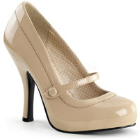 Pinup Couture Cutiepie Cream Patent Baby Doll Pumps