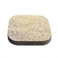 """Pom Graphic Design """"Inca Gold Trail"""" Yellow Brown Coasters (Set of 4)"""