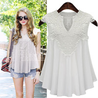 Embroidered Lace Cap Sleeve Chiffon Blouse