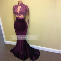Two Piece Prom Dresses 2017 Sheer See Through High Neck Long Sleeve Velvet Real Picture Long Lace Burgundy African Prom Dress