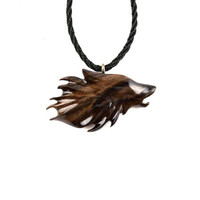 Wolf Necklace, Wolf Pendant, Mens Necklace, Wood Wolf Necklace Pendant, Mens Wolf Necklace, Hand Carved Pendant, Wood Jewelry, Men's Jewelry