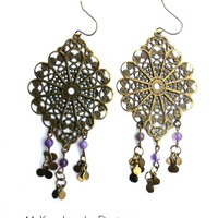 Filigree teardrop hoops, stone dangle Bohemain earrings. Purple amethyst jewelry.