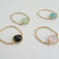 Stone chain ring-Colorful round stone on a chain. Color stone ring.