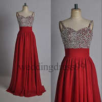 Custom Red Beaded Long Fashion Prom Dresses Bridesmaid Dresses 2014 Formal Evening Gowns Formal Party Dress Cocktail Dress Dress Party