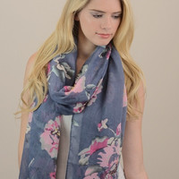 Floral Print Scarf - Blue