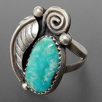 Turquoise Ring With Feather Silver Boho Statement Piece Southwestern Cowgirl Indian Jewelry Available In Sizes 6, 7, 8 Or 9