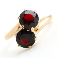 Vintage 14k Gold Garnet Bypass Ring - Antique Size 4 Red Maroon Double Stone Fine Jewelry / Sideways Stacked