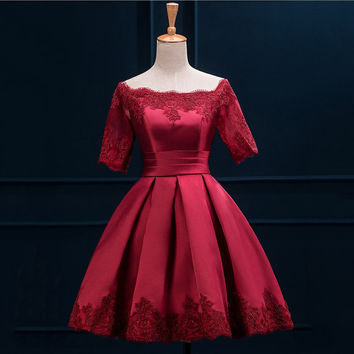 Red Applique Short Sleeve A Line Homecoming Dress