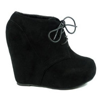 Lace up Platform Wedge Bootie