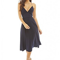 Navy Deep V-Neck  Strappy Midi Skater Dress