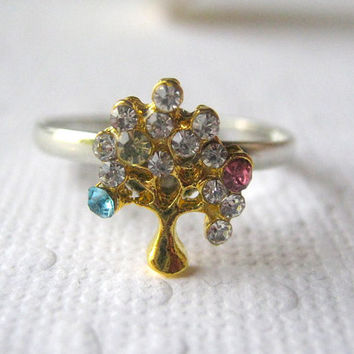 Gold Tree Ring Crystal Tree Ring Tree Of Life Ring Thin Silver Stacking Tree Ring Small Tree Jeweled Tree Jewelry Pink Blue Rhinestone