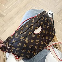 Louis Vuitton LV family chest bag Linen fabric series multi-purpose backpack messenger bag coffee