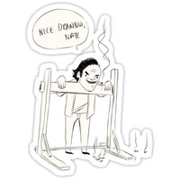 'Nathan's drawing of Sam' Sticker by Alicia Torres