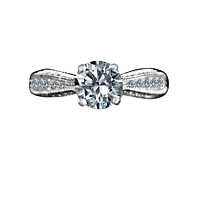 1.5CT Intensely Radiant Round Solitaire Diamond Veneer Cubic Zirconia   Sterling Silver Engagement/Wedding Ring. 635R4007
