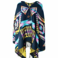 Yesiyan Women's Boho Aztec Tribal Cardigan Wrap Hooded Scarf Shawl Cape