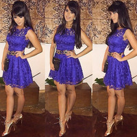 Lace Blue Floral Printed Women Sexy Erotic  Mini Skirt Dress One Piece Dress  _ 10339