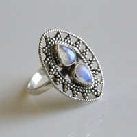 925 Sterling Silver Moonstone Ring, US 9