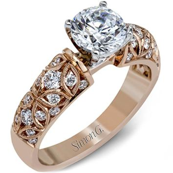 Simon G. 18K Rose Gold Filigree Vintage Style Diamond Engagement Ring
