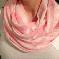 Infinity scarf. light pink. white lace. stripes