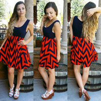 GAME DAY CHEVRON DRESS IN NAVY/ORANGE MULTI