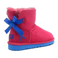 UGG Fashion Women Bow Fur Wool Snow Boots Shoes-5