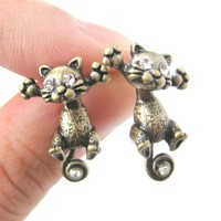 Unique Kitty Cat Shaped Two Part Dangle Earrings in Brass | DOTOLY