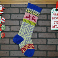 Hand Knit Christmas Stocking with Royal Blue Cuff, Pink Reindeer and Yellow Ivy, Fair Isle Knit, colorful stocking, can be Personalized