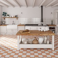 "Parisot 13.12"" x 13.12"" Ceramic Field Tile in White/Orange"