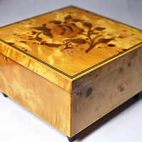 ON SALE Vintage ITALY Inlaid Wood Music Box, Hand Painted, Floral, Burled, Strangers in the Night, Jewelry Box, Trinket Box, Nice! #A963