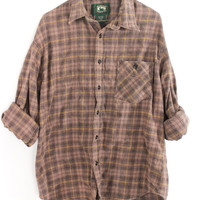 Faded Brown and Yellow Plaid Sunwashed Flannel Shirt Size L - Cuff N Roll