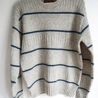 Gray Blue Striped Sweater for Men and Women by Penobscot Bay Size Large