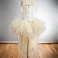 Size XL Ivory vintage inspired Burlesque tulle organza ribbon rose Corset Dress Ready to Ship