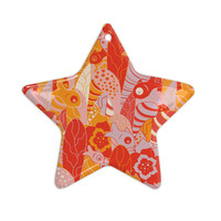 """Akwaflorell """"Fishes Here, Fishes There"""" Orange Red Ceramic Star Ornament"""