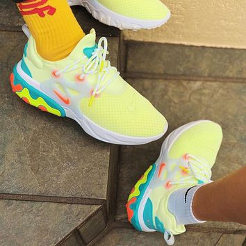 Bunchsun Nike Presto React Fashionable Men Women Breathable Sport Running Shoes Sneakers Fluorescent Green