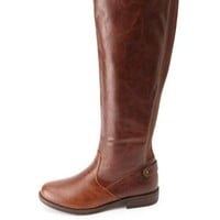 Back-Gored Knee-High Riding Boots by Charlotte Russe - Brown