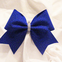Cheer bow- Royal blue with spiral glitter bow.- cheerleading bow- cheerleader bow- dance bow - softball bow