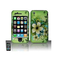 Apple Iphone 3g 3gs Apple Green Butterfly Flower Premium Design Snap-on Premium Phone Protector Hard Cover Case