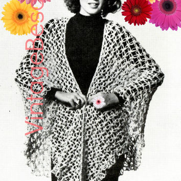 EASY Knot Stitch Shawl 1970s Vintage CROCHET Pattern w Knot Stitch GUIDE plus free gift guide and is all for beginners Instant Download Pdf