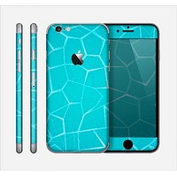 The Blue Translucent Outlined Pentagons Skin for the Apple iPhone 6