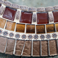"""Round Brown and Copper Mosaic Mirror, 18"""" Ready to Ship"""