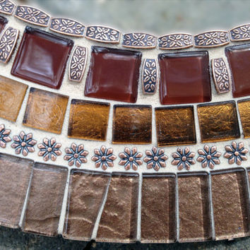 "Round Brown and Copper Mosaic Mirror, 18"" Ready to Ship"