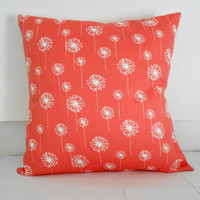 Coral Pillow Cover Home Decor Pillow White Flowers 16 X 16
