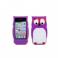 Owl Designs Silicone Skin Case Soft Cover for Apple iPhone 4 4S Purple