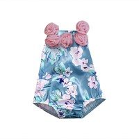 Summer born Baby Girls Floral Romper Infant Sleeveless Halter Jumpsuit Sun-suit Clothes Outfits