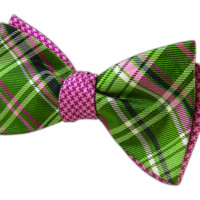 Plaiditude Tooth - Kelly/Pinks (Reversible Bow Ties) - Wear Your Good Tie. Every Day